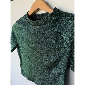 Size 4, TOPSHOP, shimmery green and black crop top